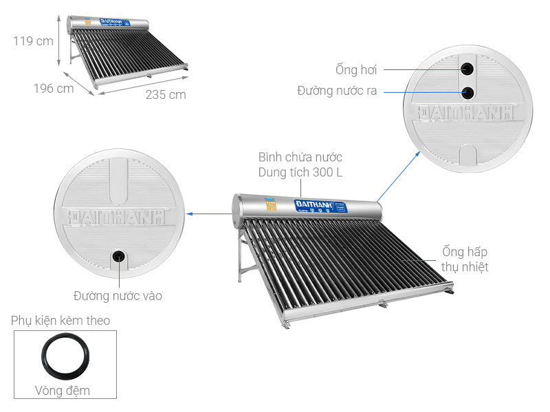 Thông số kỹ thuật Máy nước nóng năng lượng mặt trời Đại Thành 300 lít Classic 58-28