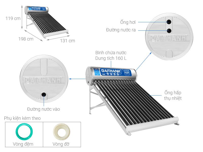 Thông số kỹ thuật Máy nước nóng năng lượng mặt trời Đại Thành 160 lít Vigo 58-15