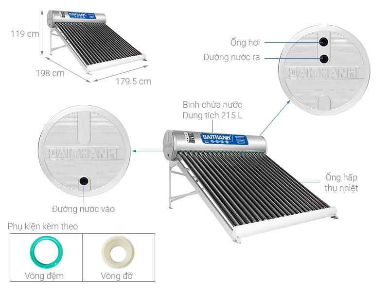 Thông số kỹ thuật Máy nước nóng năng lượng mặt trời Đại Thành 215 lít Vigo 58-21