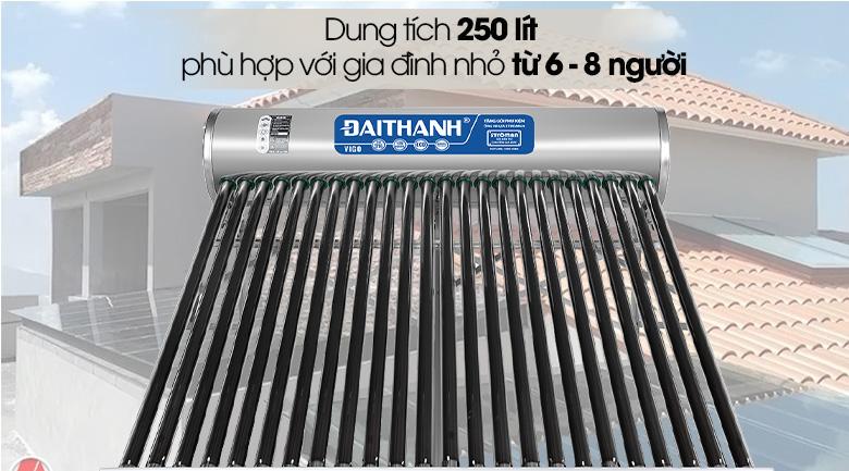 Dung tích 250 lít - Máy nước nóng năng lượng mặt trời Đại Thành 250 lít Vigo 58-24