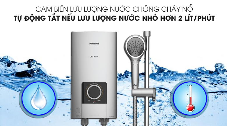 Cảm biến lưu lượng nước khi phát hiện dòng nước chảy qua yếu hơn 2 lít/phút sẽ ngắt điện để tránh gây cháy nổ