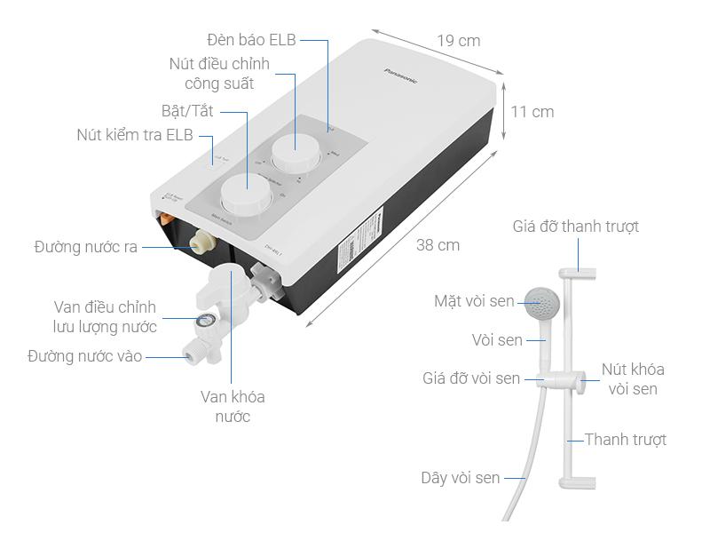 Thông số kỹ thuật Máy nước nóng Panasonic DH-4RL1VW 4500W