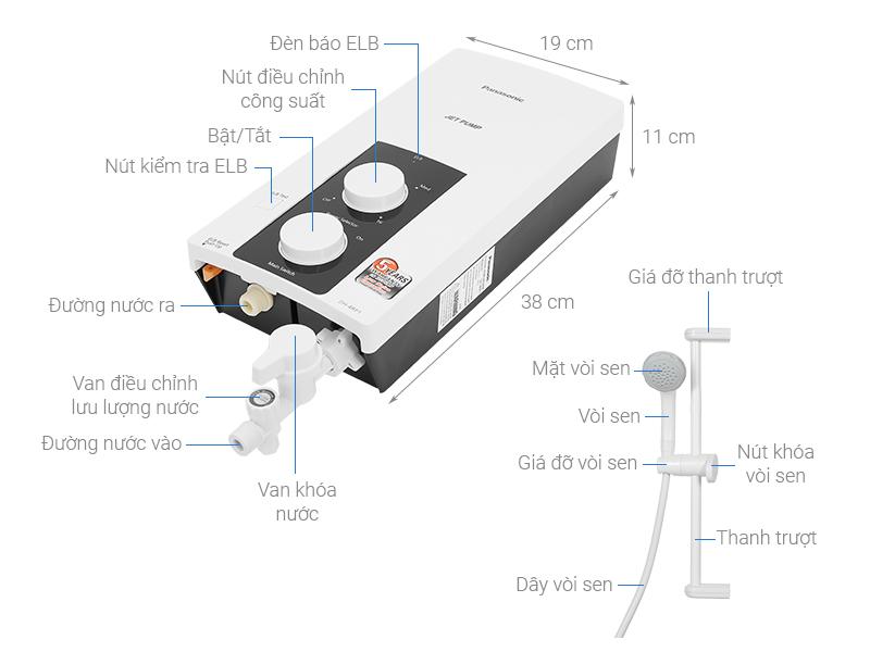 Thông số kỹ thuật Máy nước nóng Panasonic DH-4RP1VW 4500W