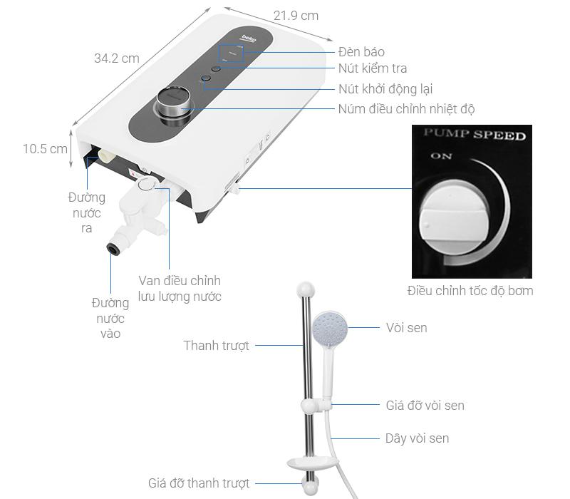 Thông số kỹ thuật Máy nước nóng Beko BWI45S2D-213 4500W