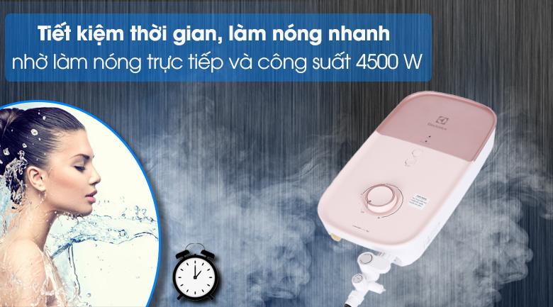 Máy nước nóng Electrolux EWE451LB-DPX2 4500W - Tiết kiệm thời gian với cơ chế làm nóng trực tiếp