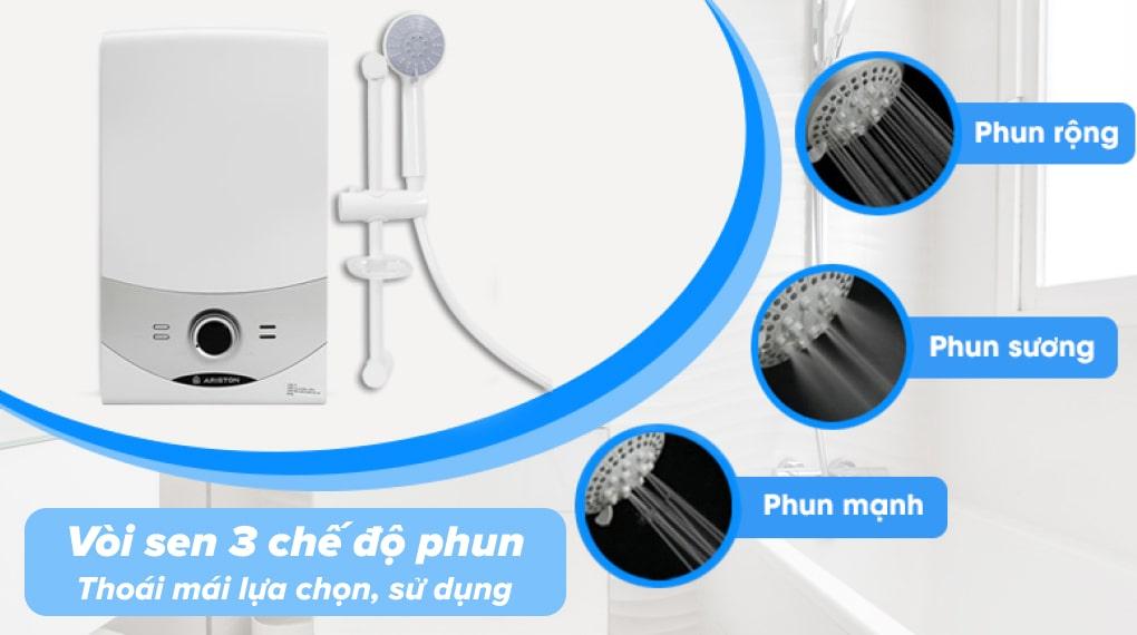 Máy nước nóng Ariston AURES SM45PE SBS VN 4500W - Vòi sen 3 chế độ phun