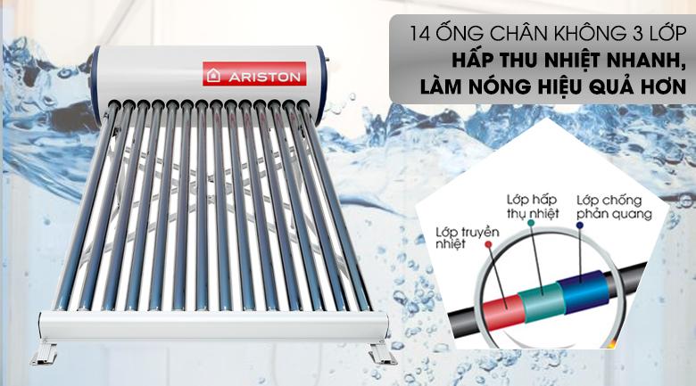 Máy nước nóng năng lượng mặt trời Ariston 175 lít ECO 1814 - Hấp thụ nhiệt tốt, làm nóng hiệu quả với hệ thống ống chân không 3 lớp