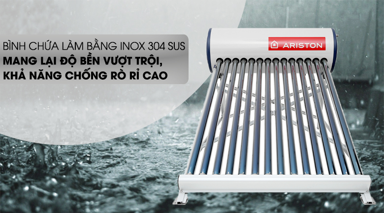 Máy nước nóng năng lượng mặt trời Ariston 175 lít ECO 1814 - Độ bền cao, chống rò rỉ với công nghệ bình chứa Inox 304 SUS
