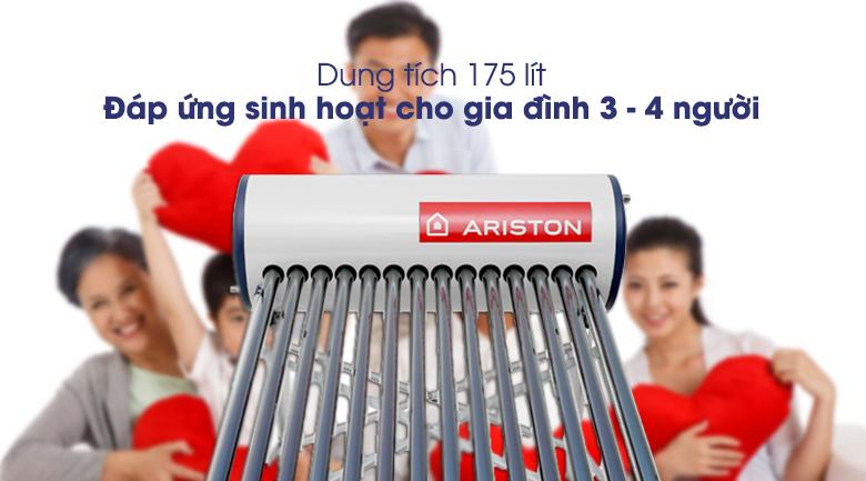Máy nước nóng năng lượng mặt trời Ariston 175 lít ECO 1814 dùng cho 3 - 4 người