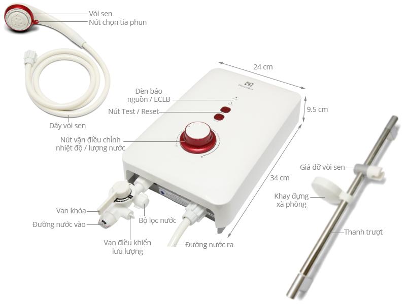 Thông số kỹ thuật Máy nước nóng Electrolux EWE451AX-DWR 4.5 kW