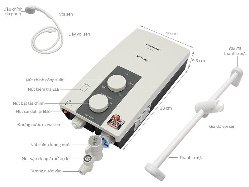 Thông số kỹ thuật Máy nước nóng Panasonic DH-3JP4VH 3.5 kW