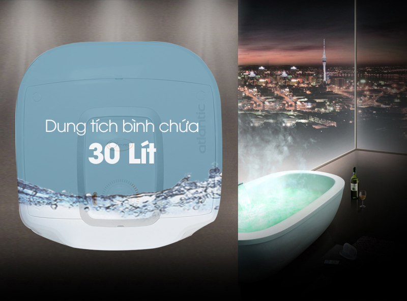 Dung tích lưu trữ và giữ nhiệt lượng nước nóng lên đến 30 lít