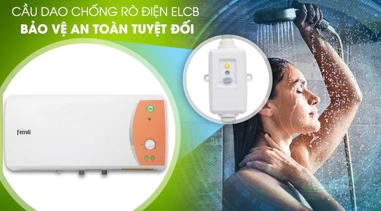 Cầu dao chống rò điện ELCB - Bình nước nóng Ferroli VERDI 30L TE 30 lít