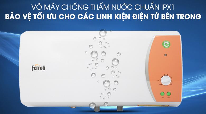 Vỏ máy chống thấm nước chuẩn IPX1 - Bình nước nóng Ferroli VERDI 30L TE 30 lít
