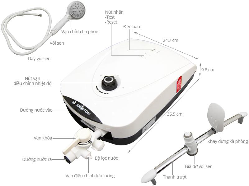 Thông số kỹ thuật Máy nước nóng Ariston VR-E4522E-WH W/White