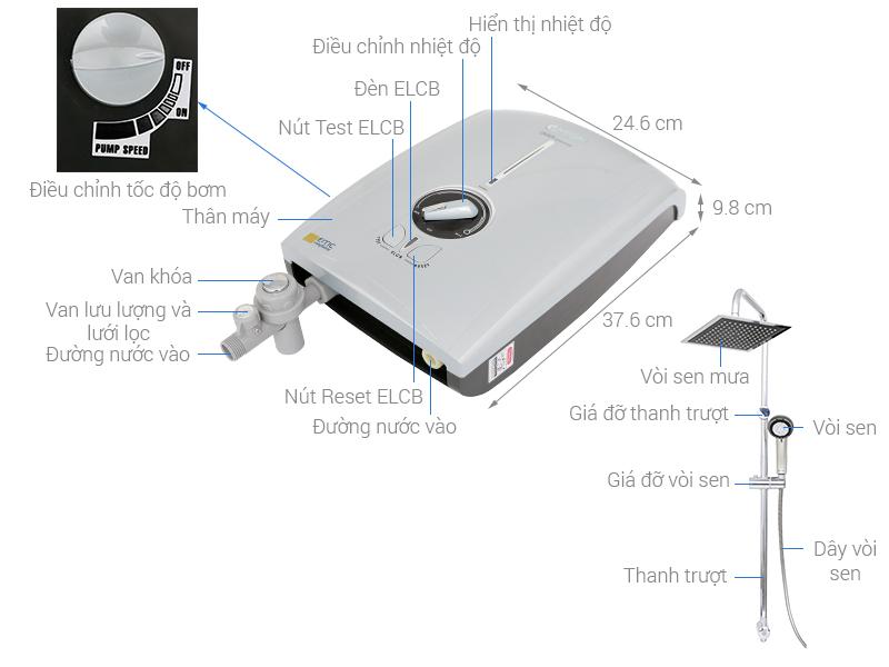 Thông số kỹ thuật Máy nước nóng Centon GD600ESP RS