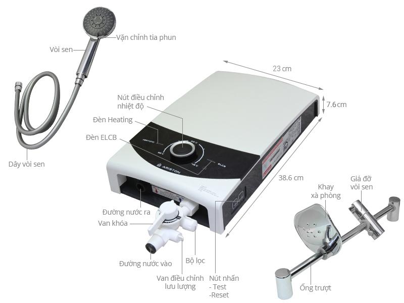 Thông số kỹ thuật Máy nước nóng Ariston SMC45PE-VN 4.5 kW