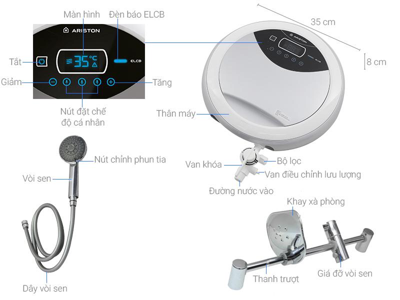 Thông số kỹ thuật Máy nước nóng Ariston RT45E-VN - 4.5 kW