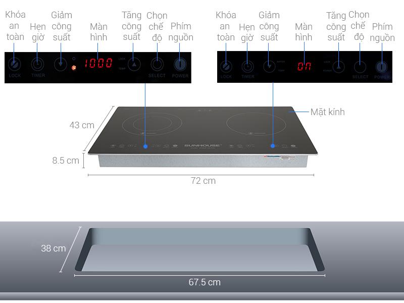 Thông số kỹ thuật Bếp từ hồng ngoại Sunhouse SHB9106-ES