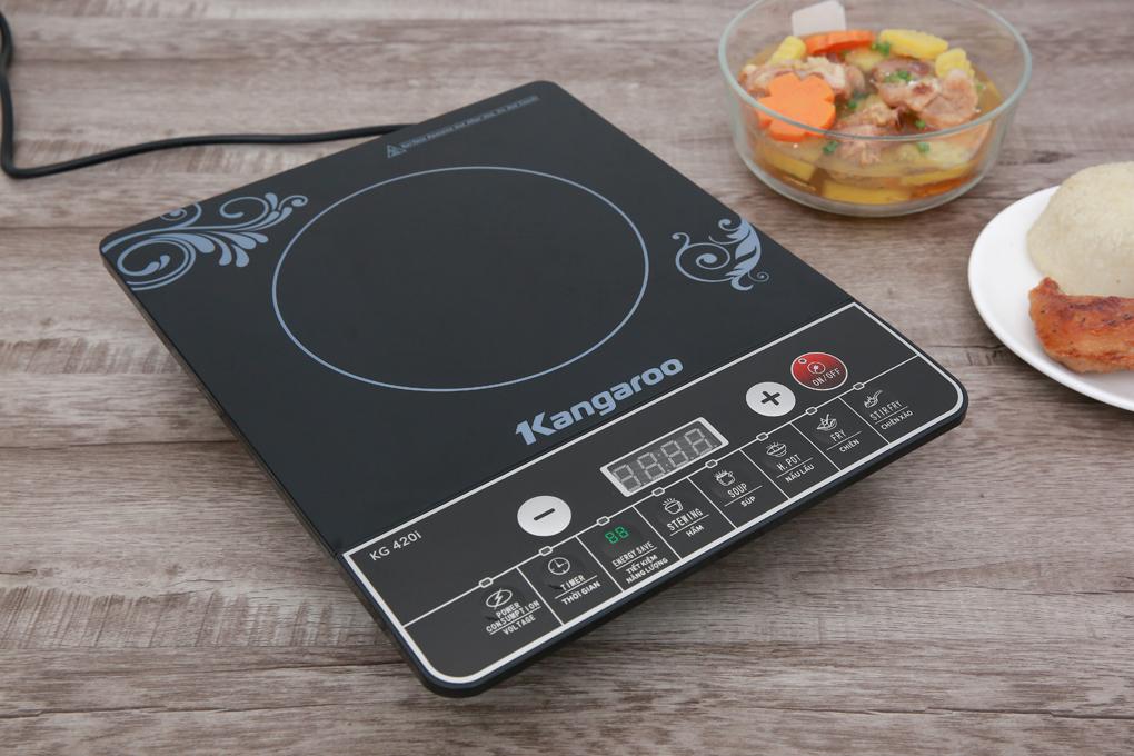 Màu đen sang trọng, có 1 vùng nấu, kích cỡ nhỏ gọn - Bếp từ Kangaroo KG420I