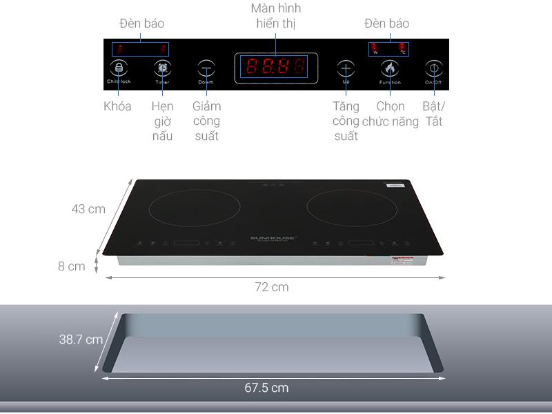 Thông số kỹ thuật Bếp từ đôi Sunhouse SHB9101
