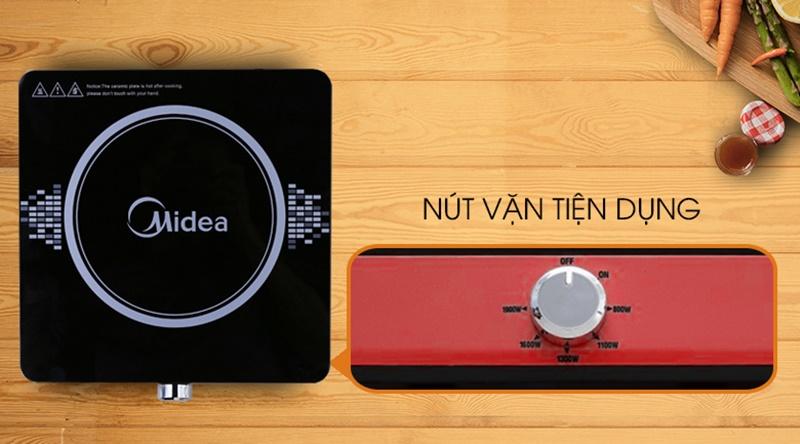 Bảng điều khiển nút vặn đơn giản - Bếp từ Midea MI-K1917EF(G) đỏ