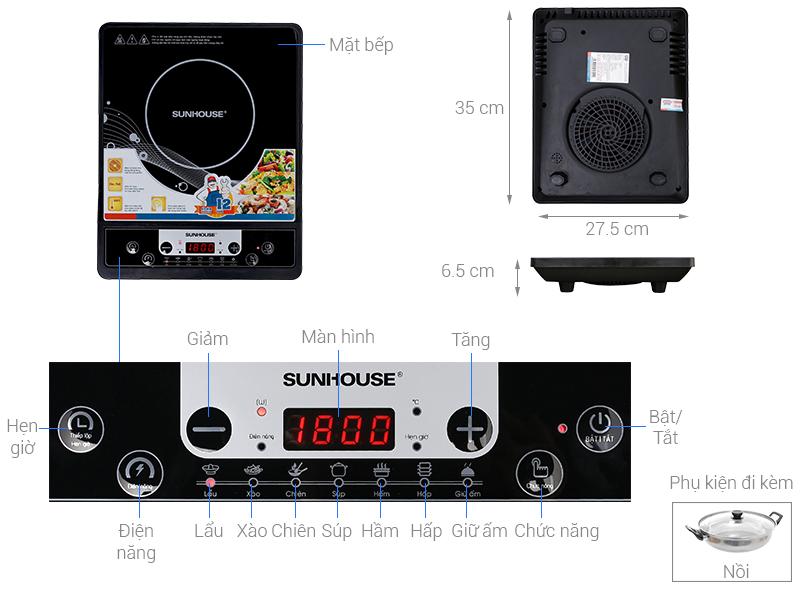 Thông số kỹ thuật Bếp từ Sunhouse SHD6149