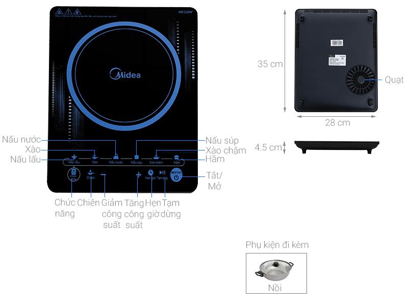 Thông số kỹ thuật Bếp từ Midea MI-T2117DC
