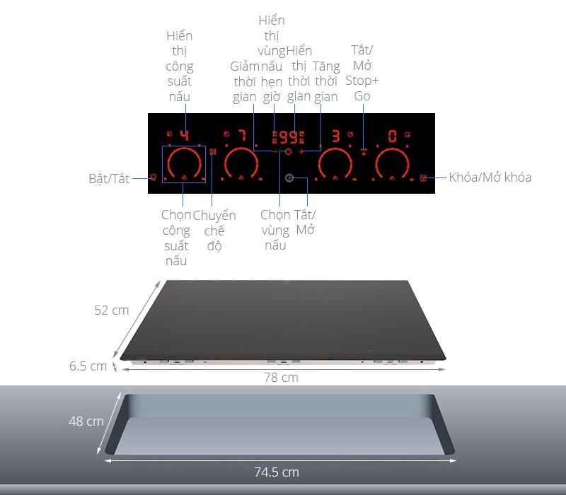 Thông số kỹ thuật Bếp từ đôi Electrolux EHXD875FAK