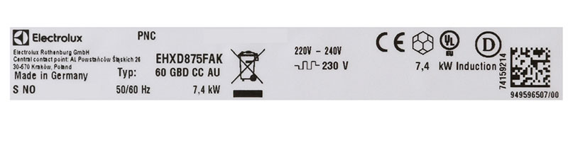 Công suất hoạt động của bếp từ đôi Electrolux EHXD875FAK
