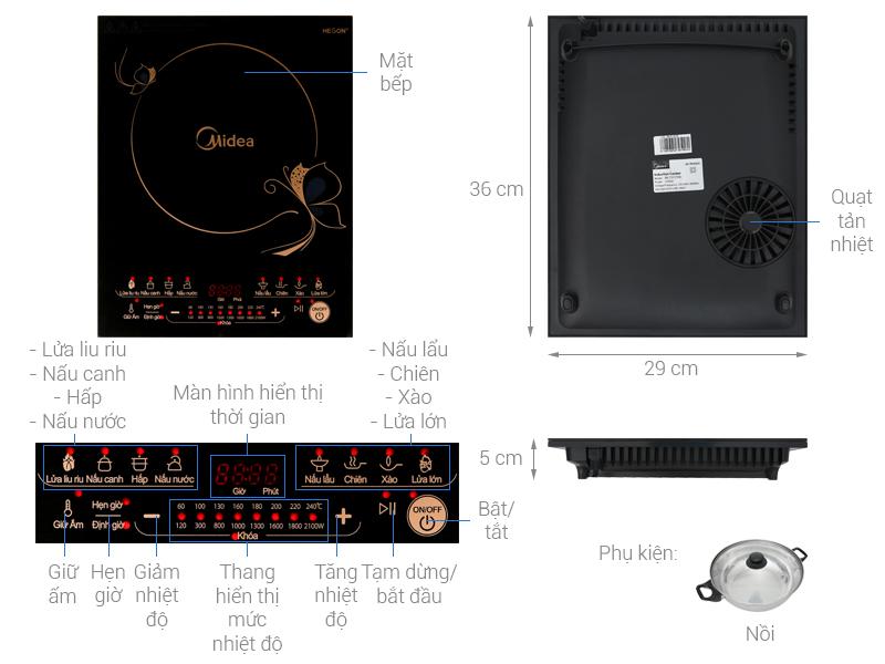 Thông số kỹ thuật Bếp từ Midea MI-T2117DE