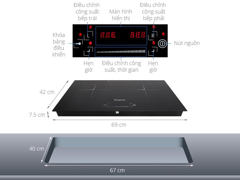 Thông số kỹ thuật Bếp từ hồng ngoại Kangaroo KG443I
