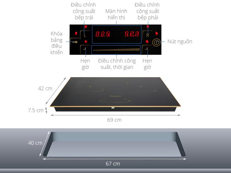 Thông số kỹ thuật Bếp từ đôi Kangaroo KG438I