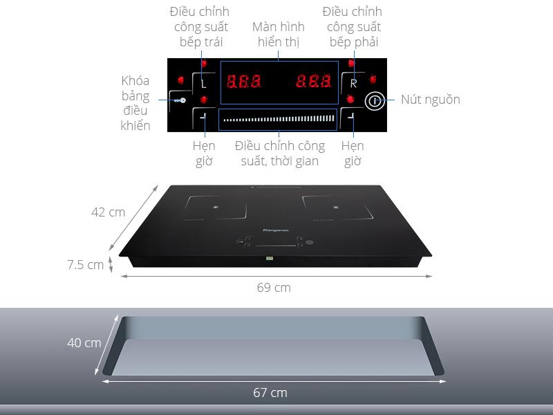Thông số kỹ thuật Bếp từ đôi Kangaroo KG435I