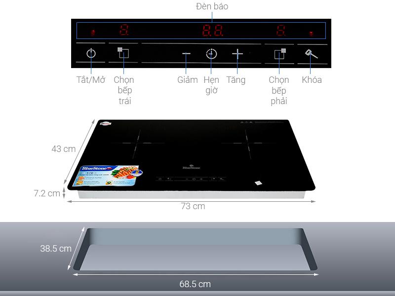 Thông số kỹ thuật Bếp điện từ đôi lắp âm Bluestone ICB-6818