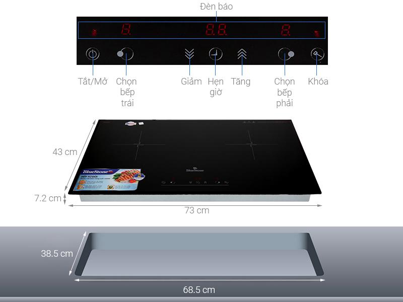 Thông số kỹ thuật Bếp điện từ đôi lắp âm Bluestone ICB-6831