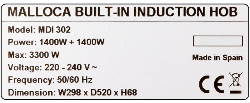 Công suất tổng hoạt động tối đa lên tới 3300 W - Bếp từ đôi Malloca MDI 302