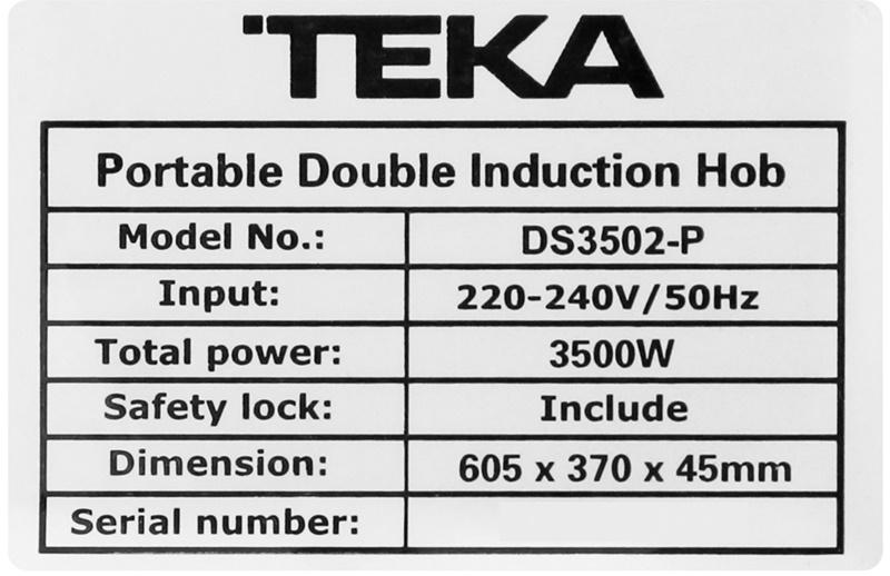 Công suất vùng nấu bên trái là 1500 W, vùng nấu bên phải là 2000 W, tổng là 3500 W - Bếp từ đôi TEKA DS3502-P KG