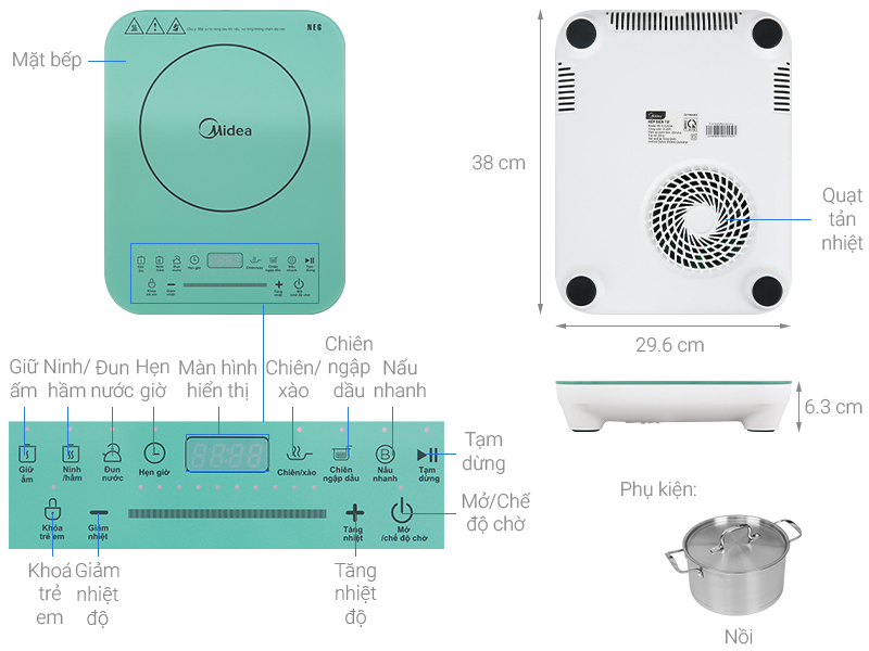 Thông số kỹ thuật Bếp từ Midea MI-T2120DA