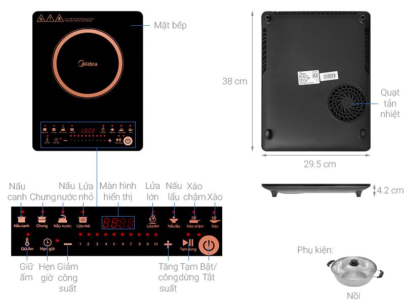 Thông số kỹ thuật Bếp từ Midea MI-T2120DC