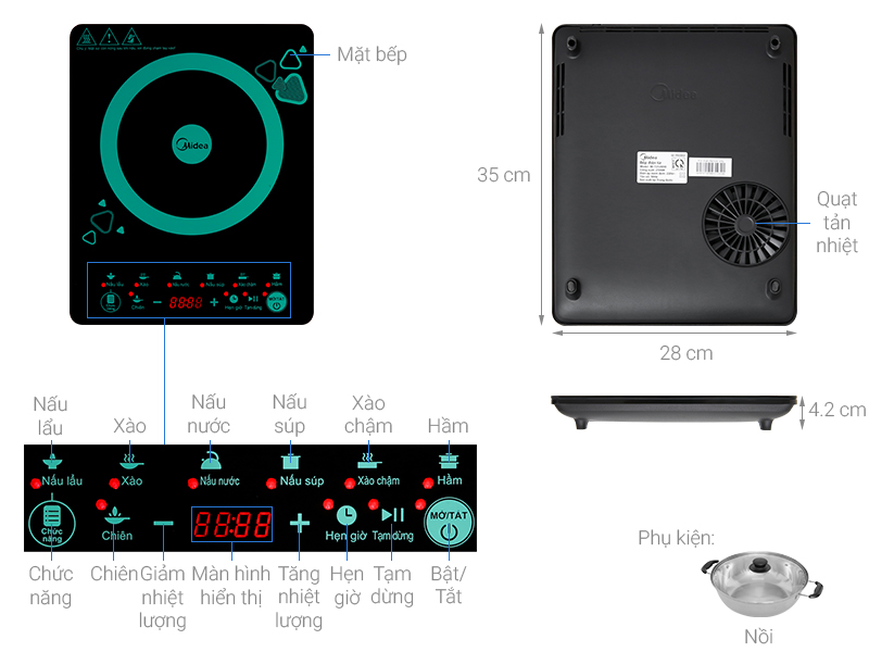 Thông số kỹ thuật Bếp từ Midea MI-T2120DD