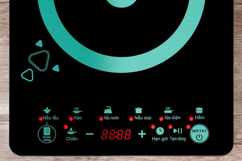 Bảng điều khiển cảm ứng siêu nhạy, màn hình LED tiện quan sát, chỉ dẫn tiếng Việt dễ hiểu - Bếp từ Midea MI-T2120DD