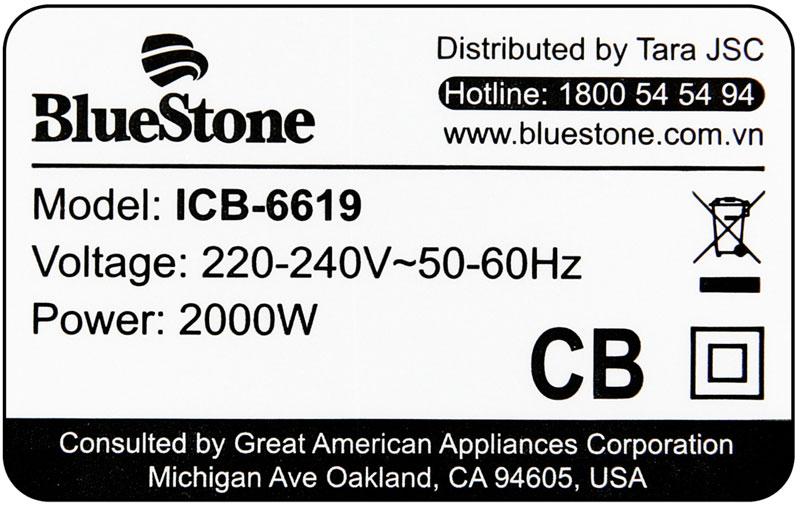 Công suất 2000 W - Bếp từ BlueStone ICB-6619