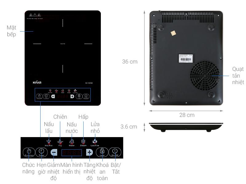 Thông số kỹ thuật Bếp từ Kiwa KI-132GB