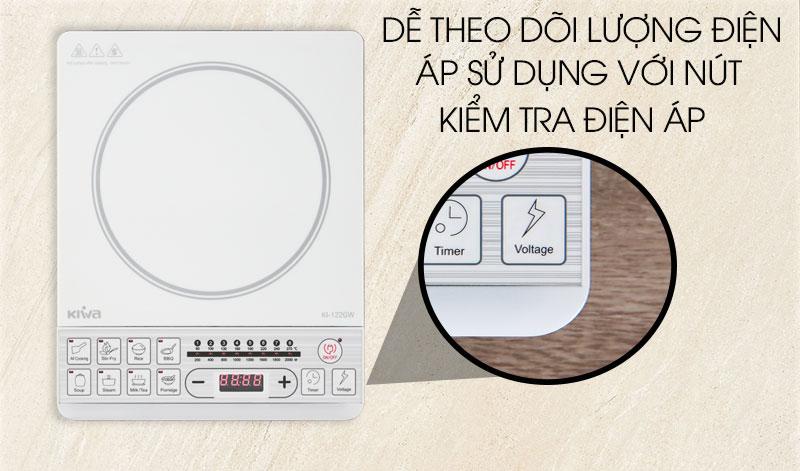 Bếp từ có nút kiểm tra điện áp - Bếp từ Kiwa KI-122GW