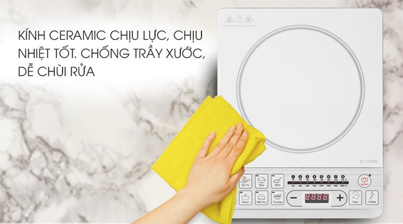 Mặt bếp bằng kính Ceramic bền bỉ - Bếp từ Kiwa KI-122GW