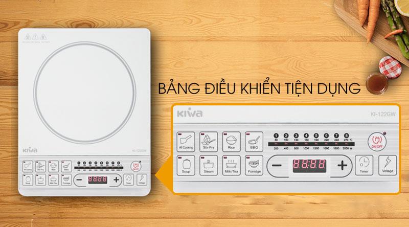 Bảng điều khiển nút nhấn với các chỉ dẫn rõ ràng - Bếp từ Kiwa KI-122GW