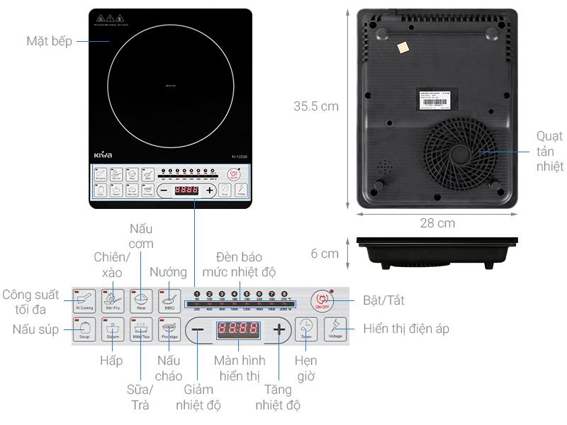 Thông số kỹ thuật Bếp từ Kiwa KI-122GB