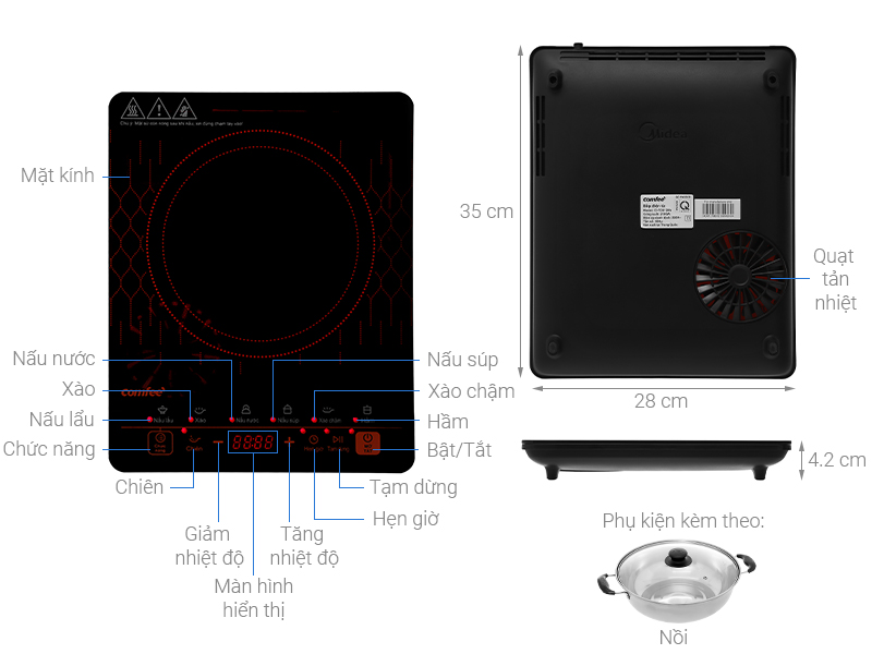 Thông số kỹ thuật Bếp từ Comfee CI-TD2120A