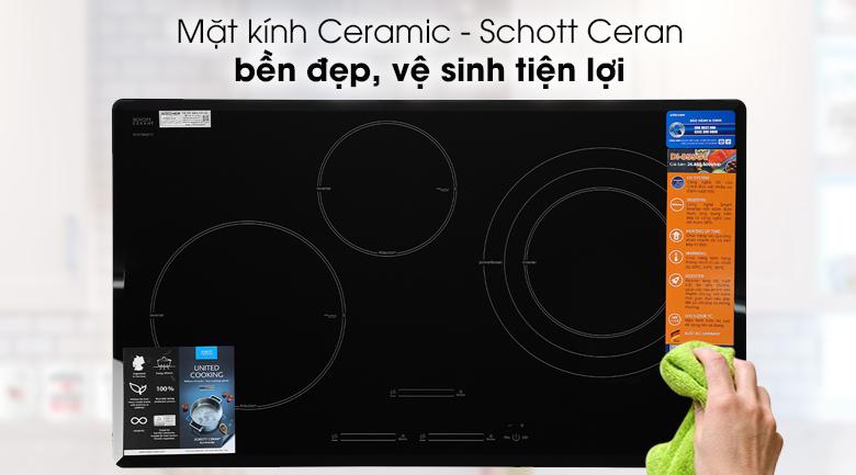 Bếp từ 3 vùng nấu Kocher DI-855GE - Mặt bếp làm từ kính Ceramic của Schott Ceran - Đức